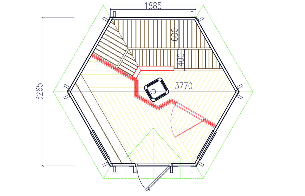 Saunakota 9,2m² mit Umkleideraum