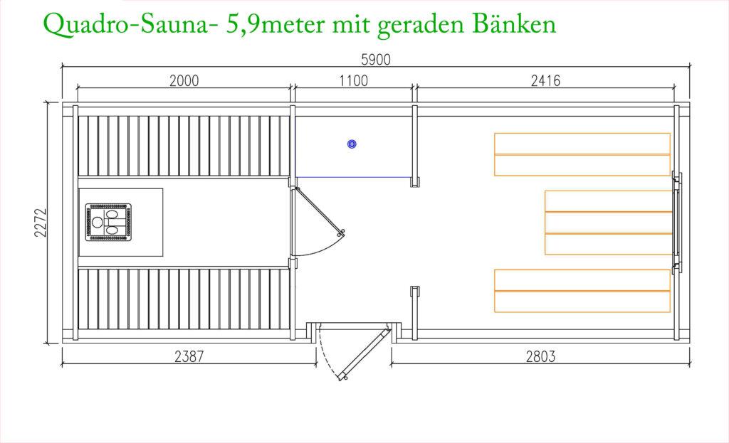 Quadro Sauna aus Kieferholz 6 meter